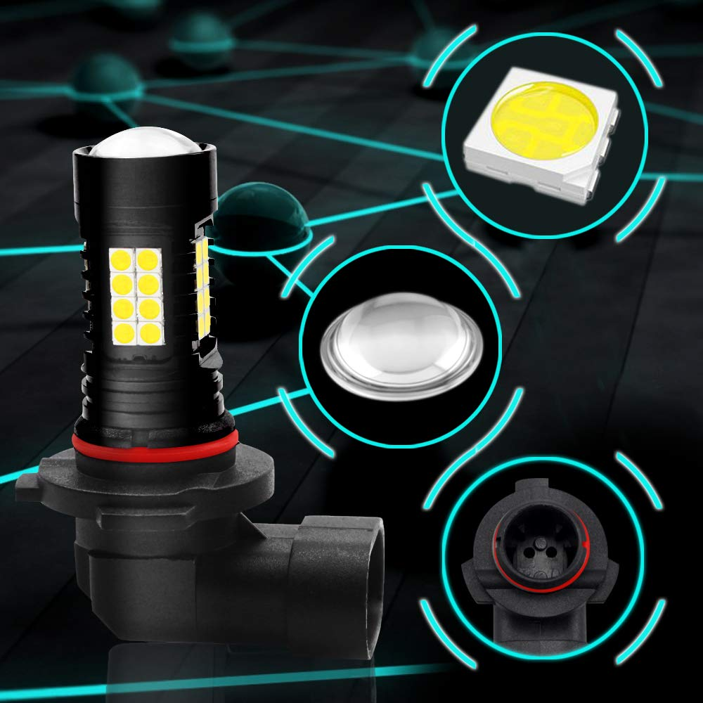 Viesyled 2800 Lumens 6000K Extremely Bright PX Chips Extremely Bright H10 9145 9140 LED Fog Light Bulbs Max 80W for DRL or Fog Lights Xenon White Pack of 2