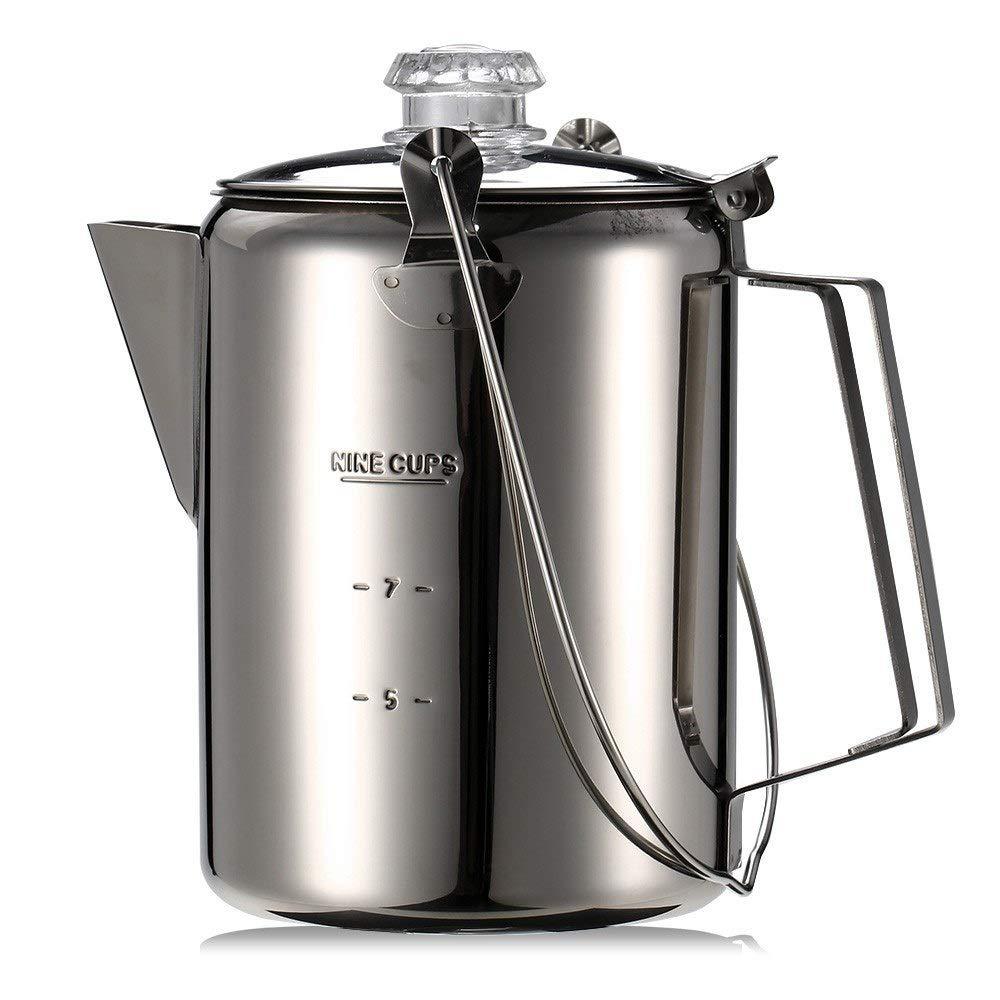 Youtaimei Zufriedenstellendes Produkt Outdoor 9 Cup Edelstahl Percolator Kaffeekanne Flasche Kaffeemaschine f/ür den B/üroeinsatz Camping Home K/üche