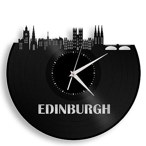 Amazon.com: Reloj de pared de vinilo de Edimburgo Cityscape ...