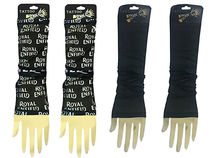 36512a049a036 Image Unavailable. Image not available for. Colour: 2 Pairs - Wearable  Tattoo Arm sleeves Skin Cover for Sun protection(Black ...