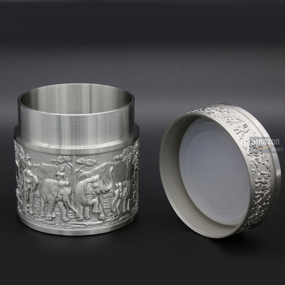 Oriental Pewter - Pewter Tea Storage, Caddy -TPCS- Hand Carved Beautiful Embossed Pure Tin 97% Lead-Free Pewter Handmade in Thailand by Oriental Pewter (Image #3)