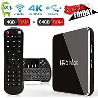 SINUK H96 MAX Android 8.1 TV Box 4G + 64G Amlogic S905 X2 Quad Core Arm Cortex A53 Smart Set-Top Box, Support 2.4G / 5.8G Dual WiFi /3D/4k/USB3.0 / Teclado retroiluminado inalámbrico