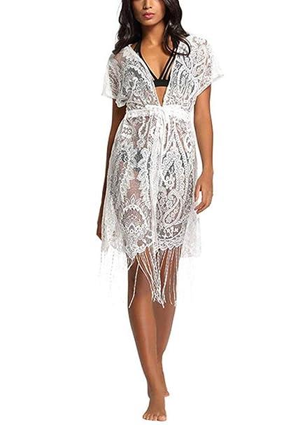 8d0e459c128f BoBoLily Mujer Bikini Cárdigan Delgado Transparentes Poncho De Playa ...