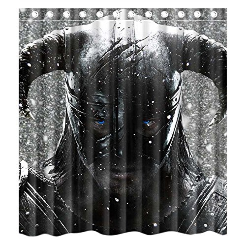 Custom Game Skyrim Dragonborn Waterproof Polyester Fabric Bathroom Shower Curtain Standard Size 66wx72h Amazoncouk Kitchen Home