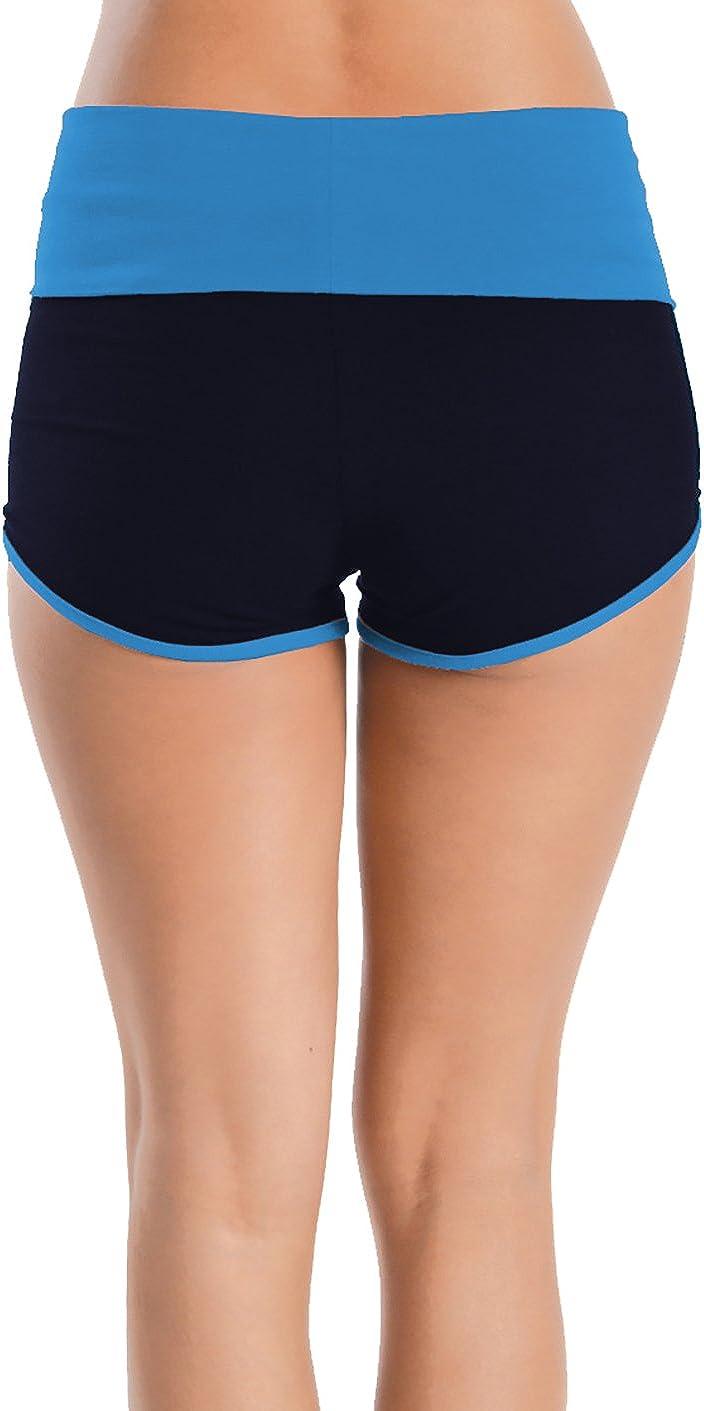 Medium, Dolphin-Turquoise//Navy BASICO Womens Lady Cotton Spandex Fold Over Waist Yoga Short Pants