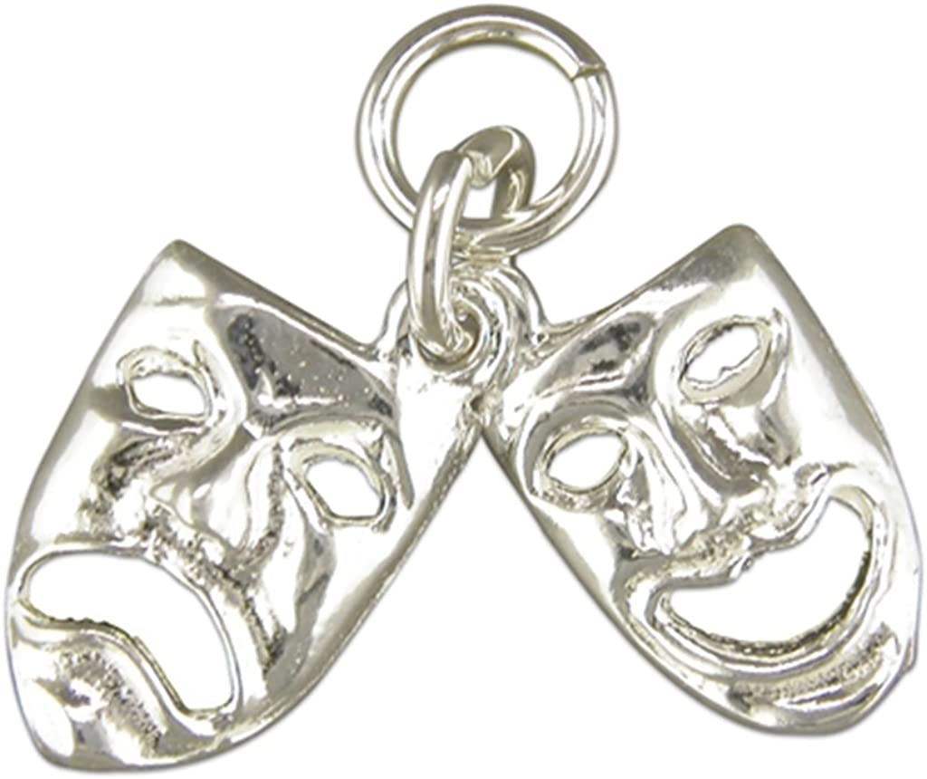 Sterling Silver Theatre Masks Pendant On A Snake Necklace