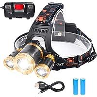 Flintronic Led-hoofdlamp, 4 Modos led-hoofdlamp, 6000 K, 1200 lumen, oplaadbaar, USB-hoofdlamp, hoofdlamp voor kinderen…