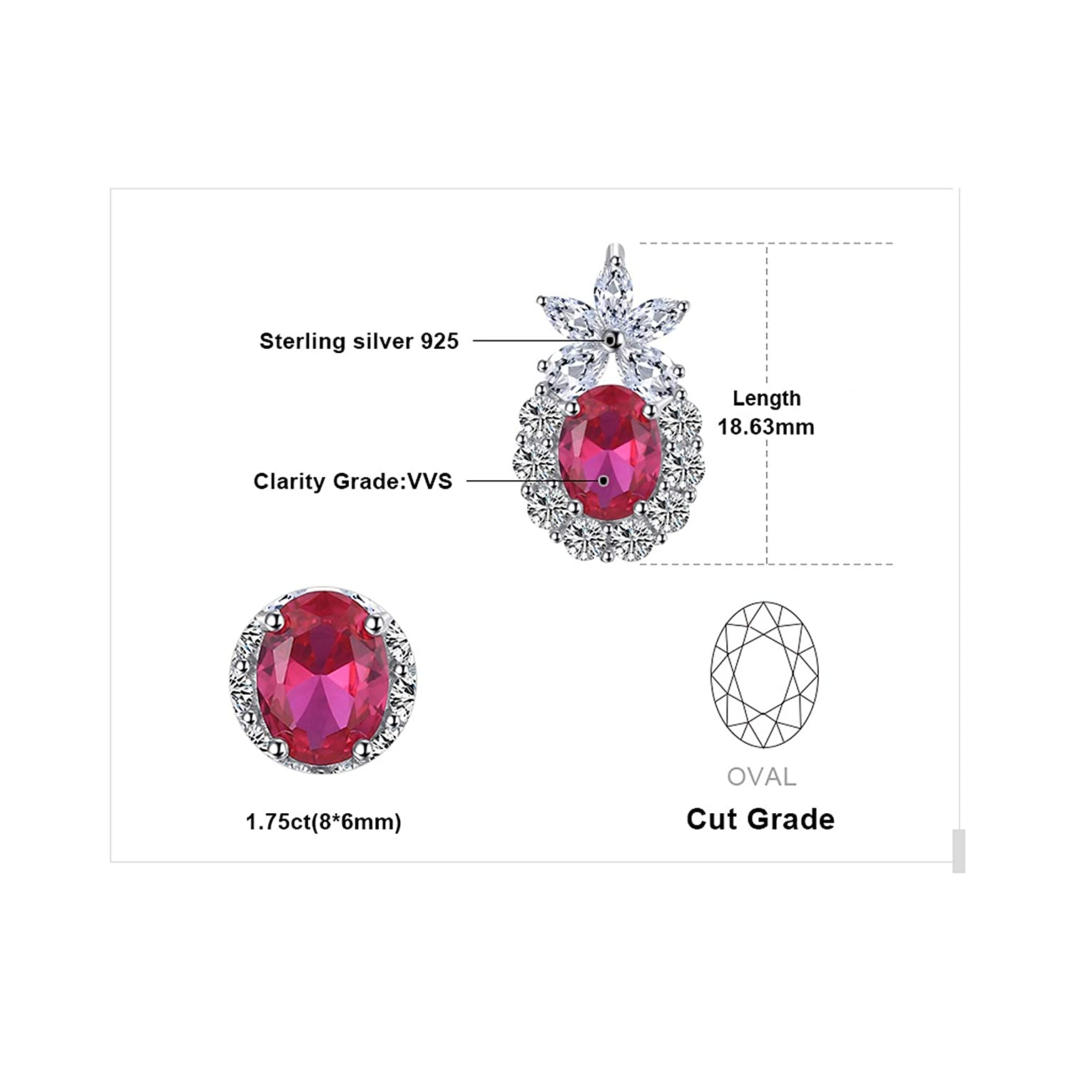 CS-DB Silver Fashion 3.35 ct Gift Ruby Oval Wedding JewelryPendants Necklaces For Womens