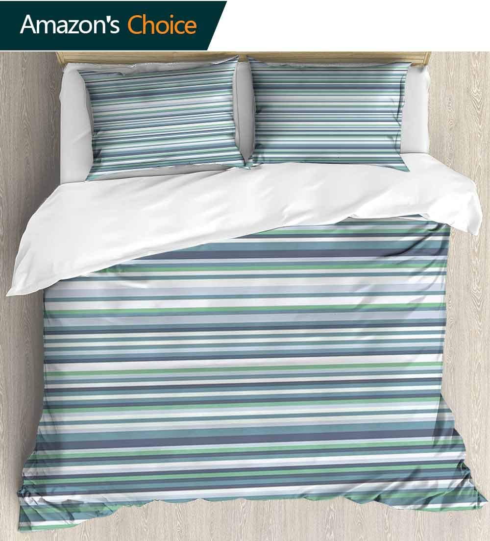 Striped Cotton Bedding Sets,Abstract Narrow Bands Group of Long Same Bars Vintage Geometric Artwork Image Print Print Queen 1 Duvet Cover 2 Pillowcases Wrinkle Fade Resistant(68''W x 85''L) Teal Blue