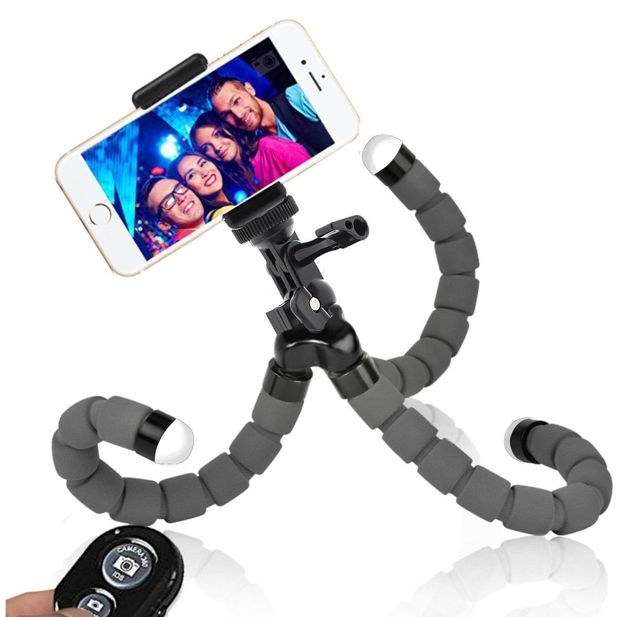 Phone Tripod iPhone Tripod WEMFG Flexible Tripod for iPhone Camera Stand Holder with Wireless Remote for iPhone Android Phone, Camera, Sports Camera and Gopro[Upgraded Version 2]