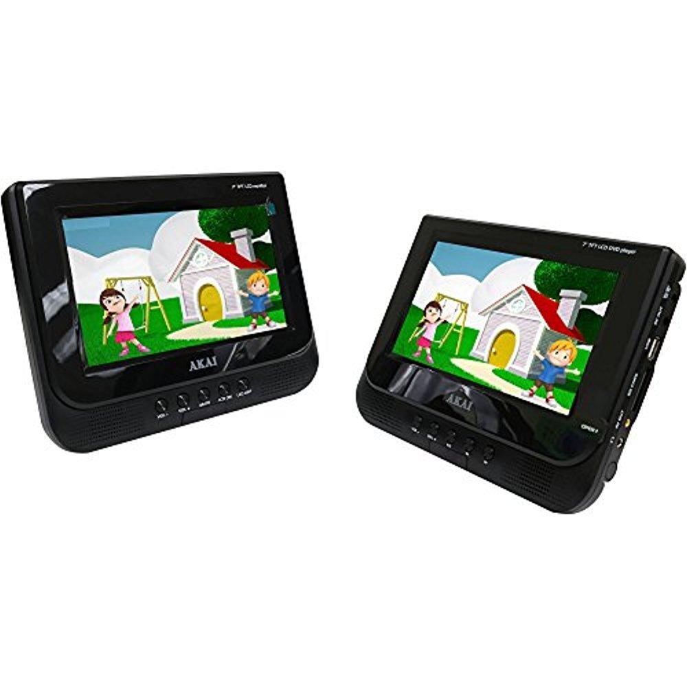 Akai AKPDVD702D 7-inch - Dual Screen Portable DVD Player (Black)