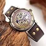 Carrie Hughes Men's Steampunk Automatic Watch Skeleton Self-Winding Mechanical Leather Brown CH168 (CH168) 8
