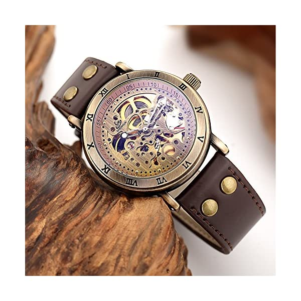 Carrie Hughes Men's Steampunk Automatic Watch Skeleton Self-Winding Mechanical Leather Brown CH168 (CH168) 5