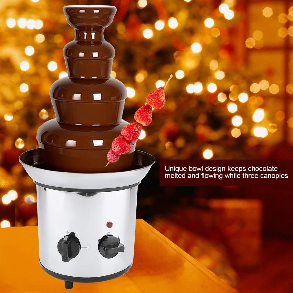 220V 4 Niveles Fuente de Chocolate Fondue M/áquina de Acero Inoxidable Enchufe de la UE Plateado
