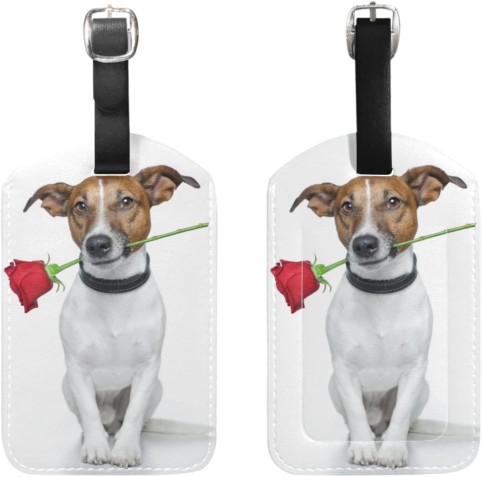 Chen Miranda Dog With A Red Rose Luggage Tag PU Leather Travel Suitcase Label ID Tag Baggage claim tag for Trolley case Kids Bag 1 Piece