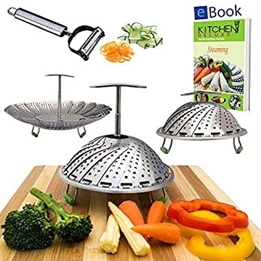 Premium Vegetable Steamer Basket - 5.5-9.3  - Extendable Handle, Long Foldable Legs with Silicone Feet - Bonus 2 in 1 Julienne Peeler & Steaming eBook - 100% Stainless Steel - Kitchen Accessories