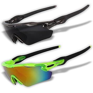 Juego de 2gafas de sol deportivas originales con lentes polarizadas y lentes de espejo