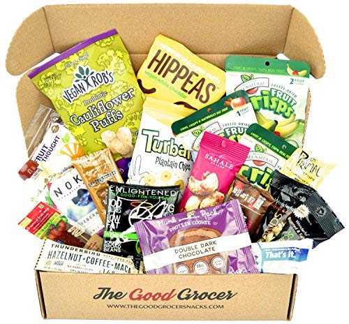 Healthy VEGAN Snacks Care Package: Plant-based, Non-GMO, Vegan Jerky, Snack Bars, Protein Cookies, Crispy Fruit, Nuts, Healthy Gift Basket Alternative, Snack Variety Pack, College Student Care Package ()