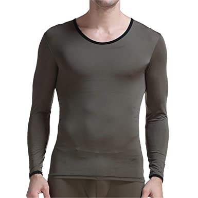 030fcc069ae Habitaen Men Thermal Underwear Long Sleeve Undershirt T Shirt Transparent  Thin Tops Army Green M