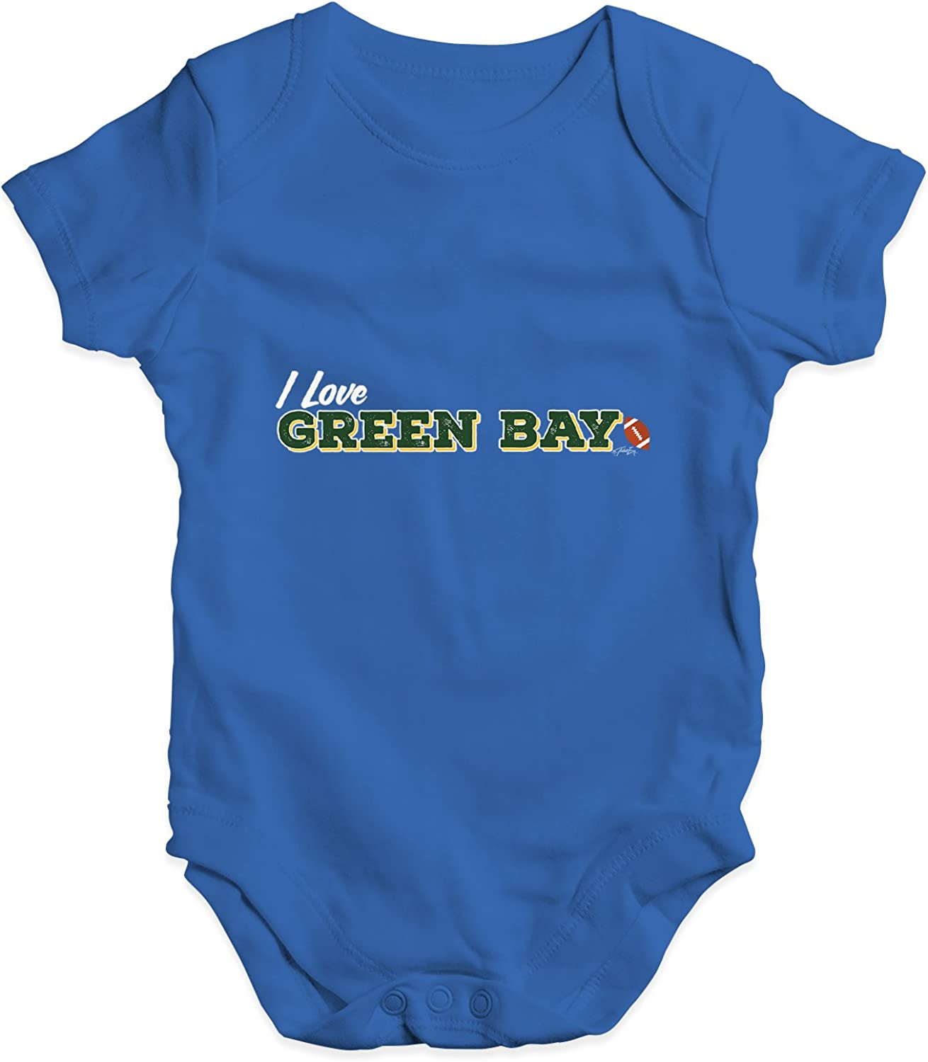 TWISTED ENVY I Love Green Bay American Football Baby Unisex Funny Infant Bodysuit Baby Grow