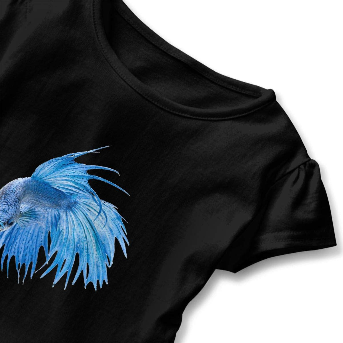 SHIRT1-KIDS Blue Betta Fish Childrens Girls Short Sleeve Ruffles Shirt Tee Jersey for 2-6T
