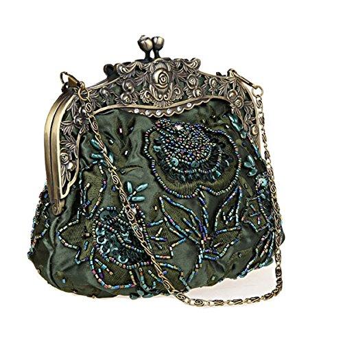 Flada damas y mujeres Vintage lentejuelas bolso hecho a mano con cuentas noche embragues baile fiesta de la boda de vino rojo Té verde