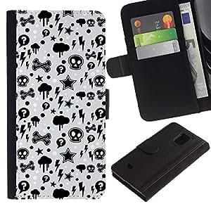 All Phone Most Case / Oferta Especial Cáscara Funda de cuero Monedero Cubierta de proteccion Caso / Wallet Case for Samsung Galaxy S5 Mini, SM-G800 // Wallpaper Thunder Lightning Skulls Star