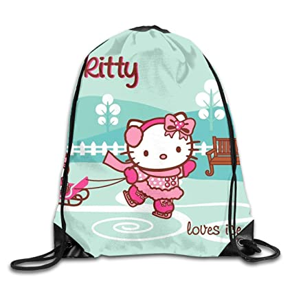 3bd0a50f3 Amazon.com: Meirdre Unisex Hello Kitty Ice Skating Sports Drawstring  Backpack Gym Bag: Home & Kitchen