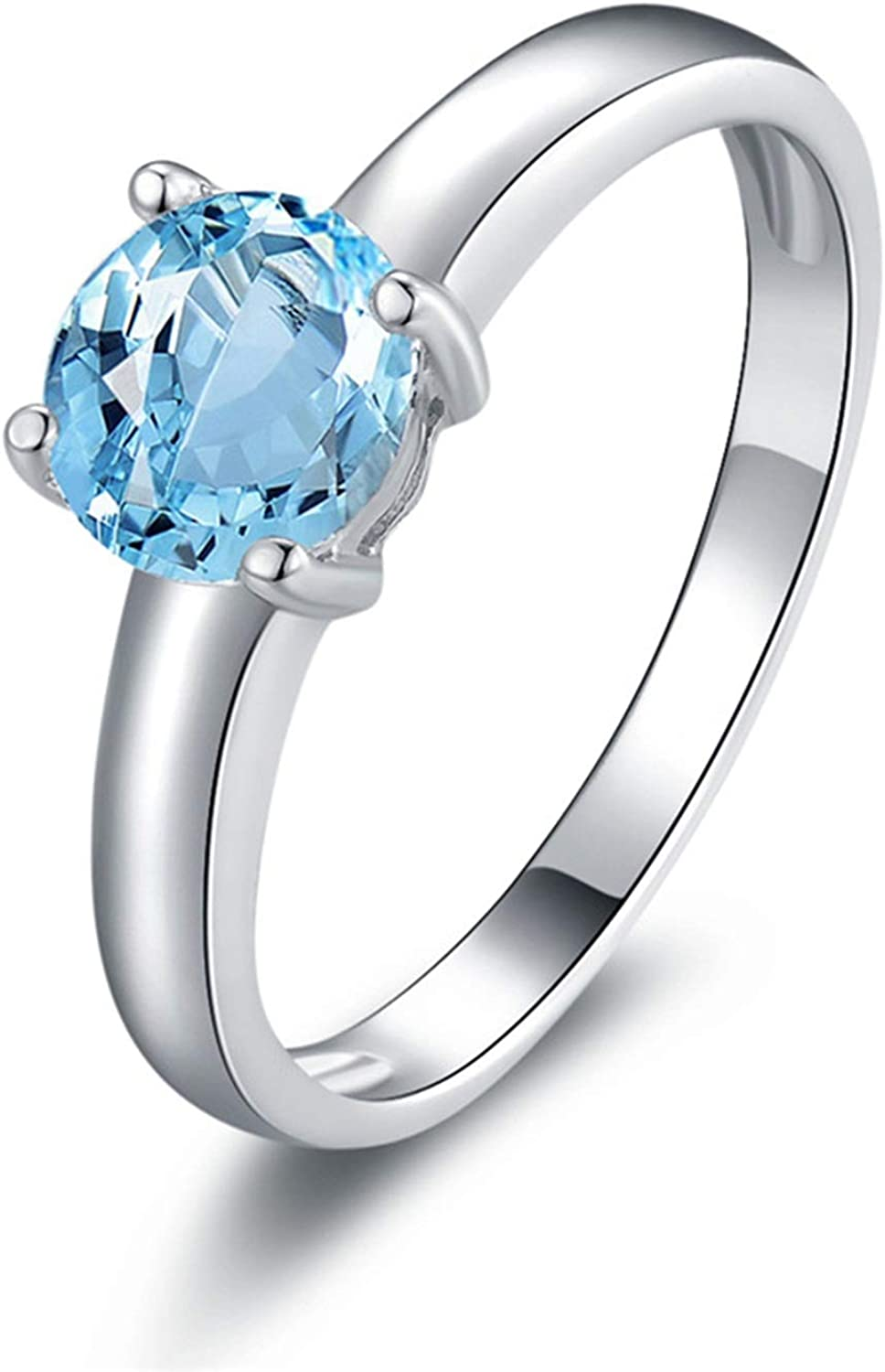 AMDXD Jewellery Sterling Silver Engagement Ring for Women Blue Round Cut Topaz Round Rings
