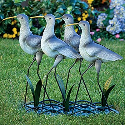Bits and Pieces - Set of 4 Piping Plovers - Garden Décor - Metal Sculpture for Your Garden, Lawn, Pond or Patio - Majestic Outdoor Art Makes Great Decoration