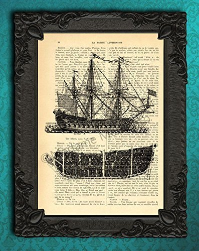 Pleasant Amazon Com Pirate Ship Diagram Art Print Antique Sailboat Poster Wiring 101 Cominwise Assnl