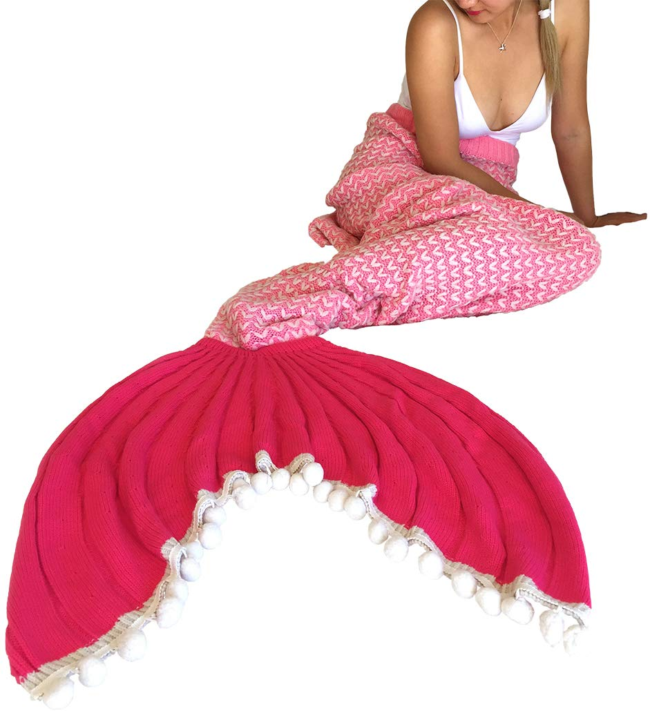 Mermaid Me Knitted Mermaid Tail Blanket for Adults & Teens (Pink)