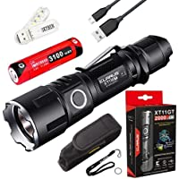 Klarus XT11GT 2000 Lumens CREE XPH35 HD E4 LED 18650 Tactical USB Rechargeable Flashlight Torch with 1x 3100mah Battery SKYBEN USB Light