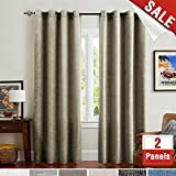 Flax Linen Drapes and Curtains for Bedroom 84 Inches Length Room Darkening Burlap Living Room Window Treatment Set 2 Panels Taupe - Khaki