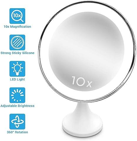 Portable /éclair/é pour Salle de Bain Ventouse verrouillable,Rotation /à 360 /° Or Compact sans Fil BEQOOL1 Miroir de Maquillage Lumineux grossissant 10x Miroir de Voyage LED