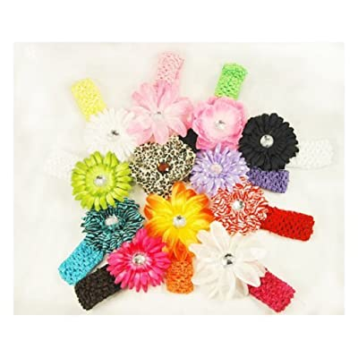 13 Assorted Flower Hair Clips with Matching Headbands