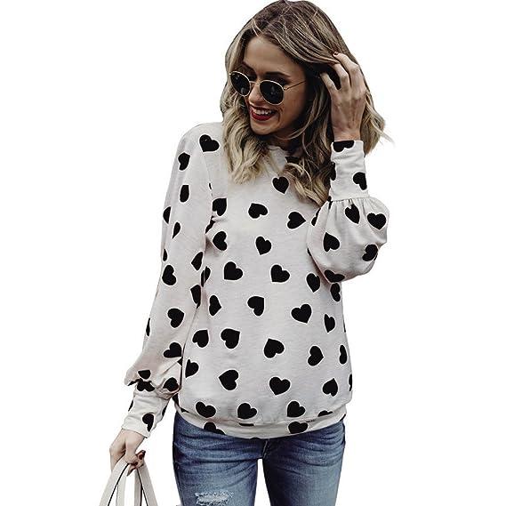 Lonshell Mujer Largas Mangas Jersey Pulóver Camisa Amor Diseño Casual Camiseta Blusa (Blanco, S