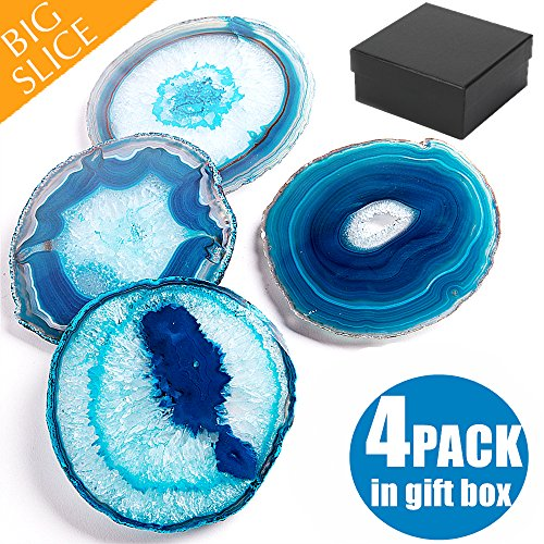 Agate Coasters For Drinks, BIG Natural Crystal Stone Slice, Set of 4-Pack In Gift Box (Hard Cardboard Holder) - Home Decor Match Furniture Setting For Special Occasion, Random Sizes Between 3.5 And 4""