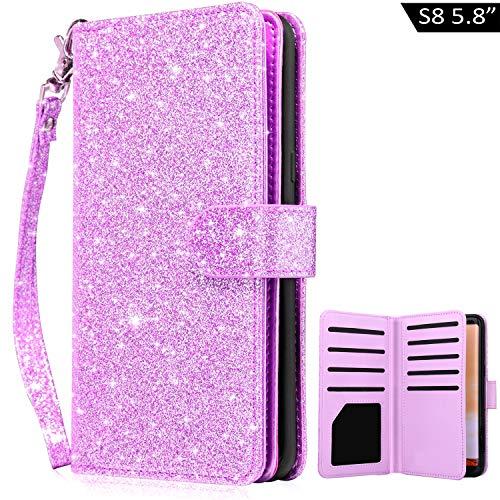 Dailylux Galaxy S8 Case,Galaxy S8 Wallet Case,Premium PU Leather Flip Credit Card Holder Wristlet Shockproof Protective Luxury Bling Flip Case Samsung Galaxy S8 5.8 inch-Glitter Purple