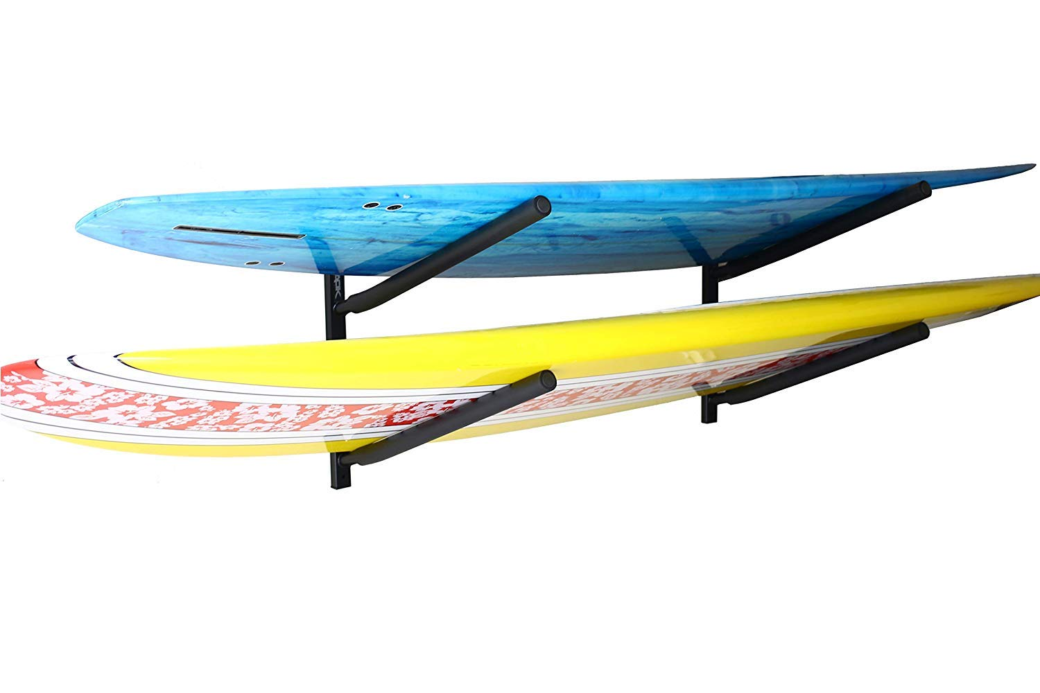 SPAREHAND Double Wall Mount Rack with Angled Padded Arms for 2 Surfboards or SUP Paddle Boards by SPAREHAND