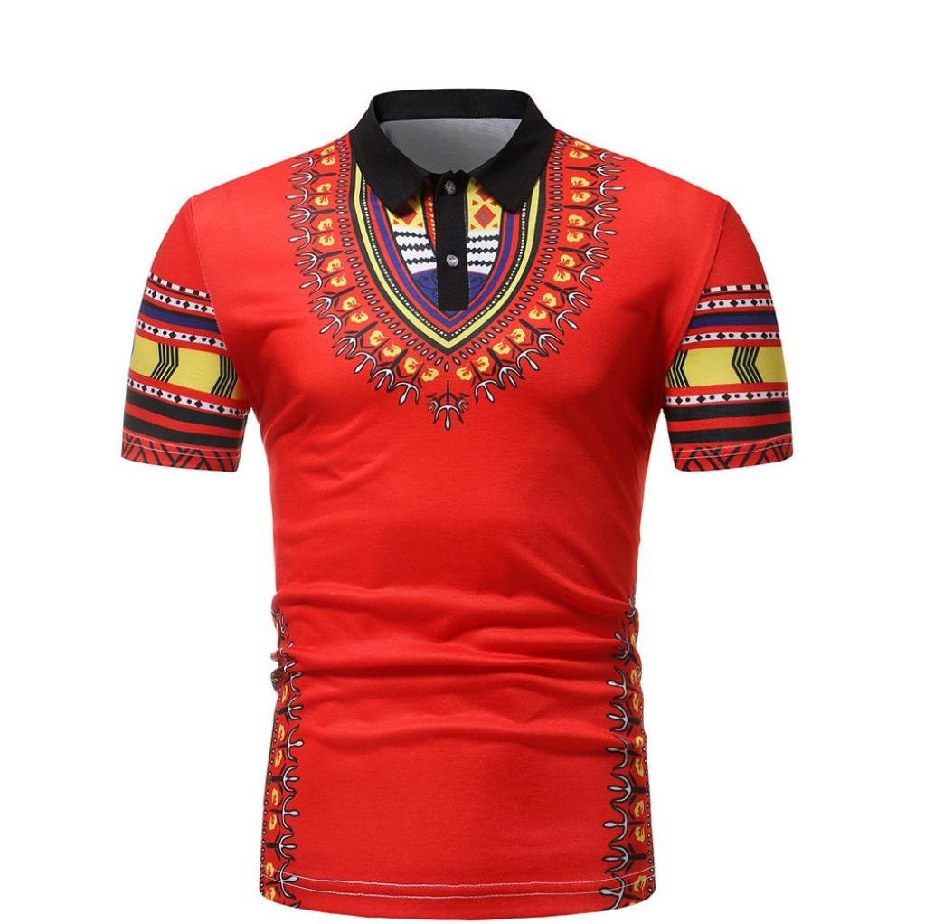 Yuxing Dashiki African Men Short Sleeve Button V Neck Polo T Shirts Summer Slim Fit Collar Tops (L, Red)
