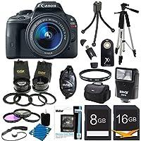 Canon EOS Rebel SL1 18MP DSLR Camera Ultra 3 Lens Bundle Includes: Rebel SL1 Camera, EF-S 18-55mm f/3.5-5.6 IS STM Lens, 2.5X Telephoto and 0.45X Super Wide Angle high definition lens set, Flash, 59
