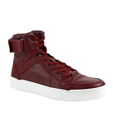 c961d71f1a4 Gucci High Top Strong Dark Red Leather Sneakers with Strap 386738 6148 (6 G