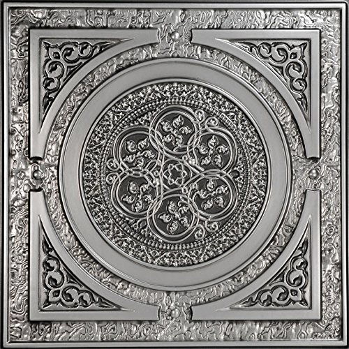 Steampunk-Faux Tin Ceiling Tile - Antique Silver 25-Pack ()