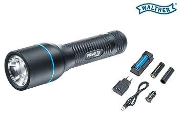 4740a18080a7b2 WALTHER PRO Taschenlampe PL70r LED 910 Lumen inklusive Akku+USB-Kabel
