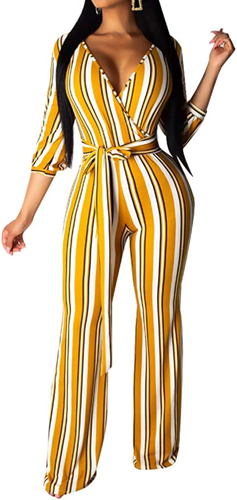 Uni Clau Womens V Neck 3//4 Sleeve Striped Jumpsuit Casual Wide Leg Long Pants Jumpsuit Romper