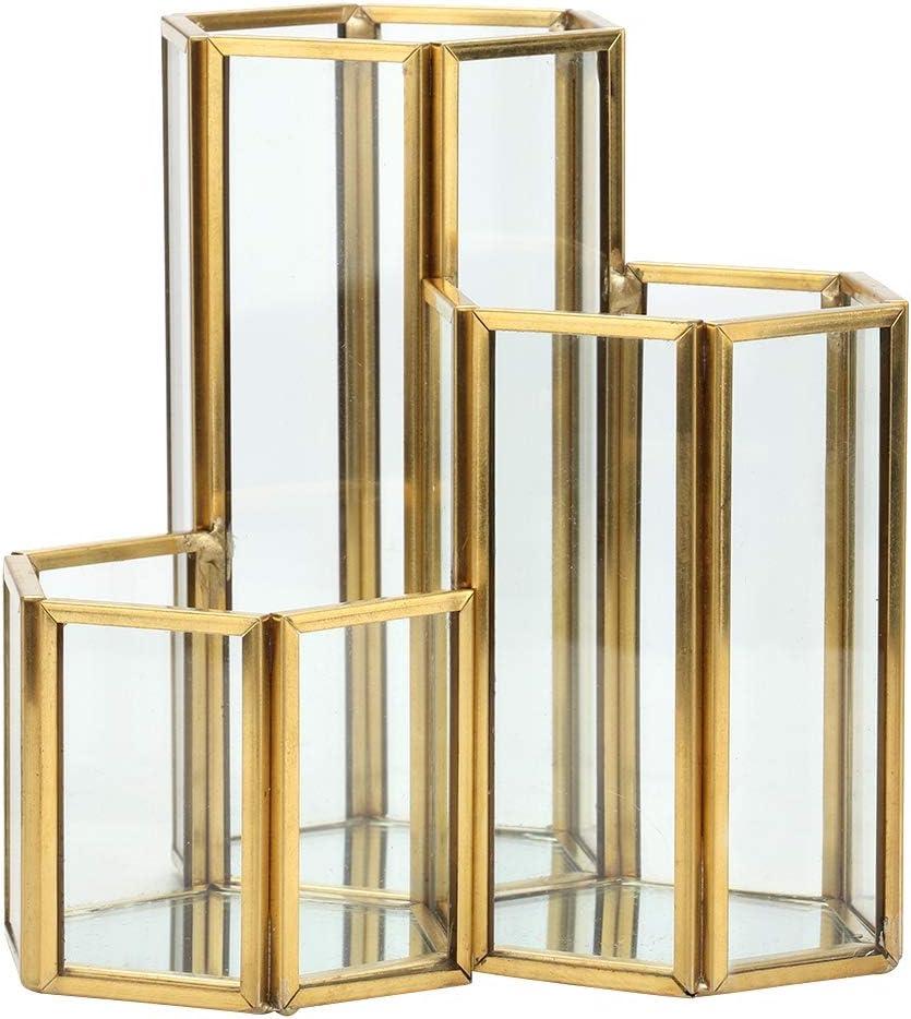 AUNMAS Scatola di immagazzinaggio Semplice Sexangle Combination Storage per scrivania in Vetro per Porta pennelli