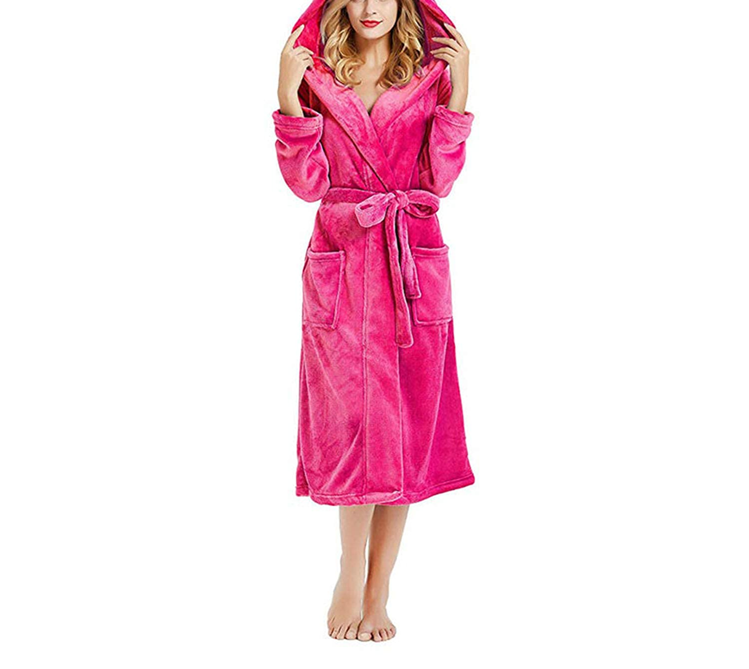 Red Little Happiness Women's Hooded Thick Robes Plush Cashmere Bathrobe Plush Kimono Sleepwear Nightgown Winter Robes