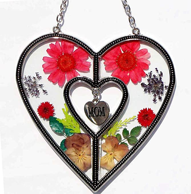 Mom Heart Suncatchers Stained Glass Suncatchers For Windows Heart with Pressed Flower Heart - Glass Heart Suncatchers - Mom Gifts Gift for Mother's Day Mom for Birthdays Christmas