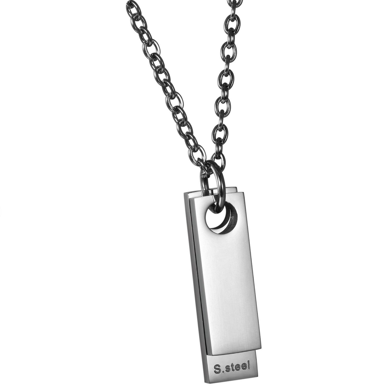Oidea Collier pour homme avec pendentif rectangulaire en acier inoxydable poli et cha/îne de 55 cm